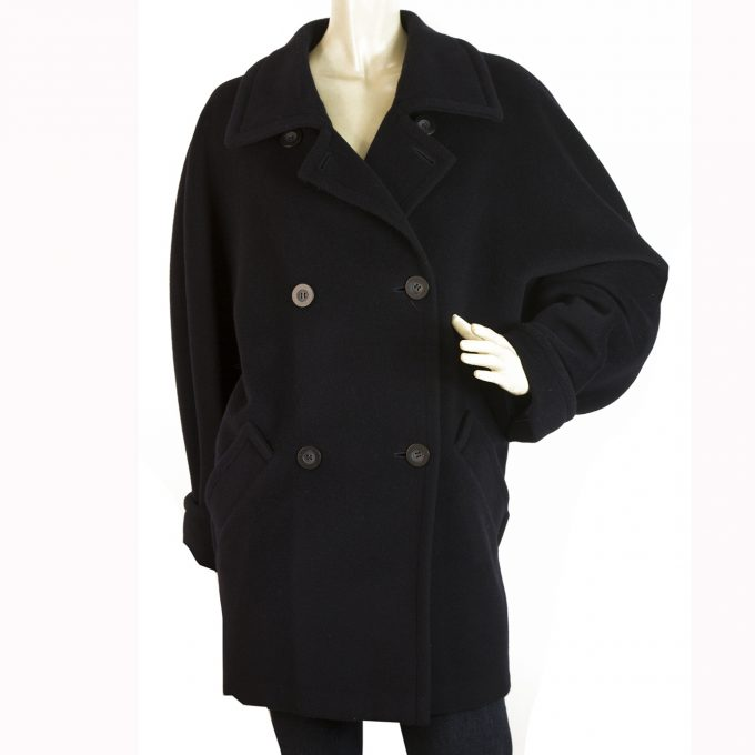 Max Mara Dark Blue Virgin Wool Double Brusted Coat size Fr 42 It 44