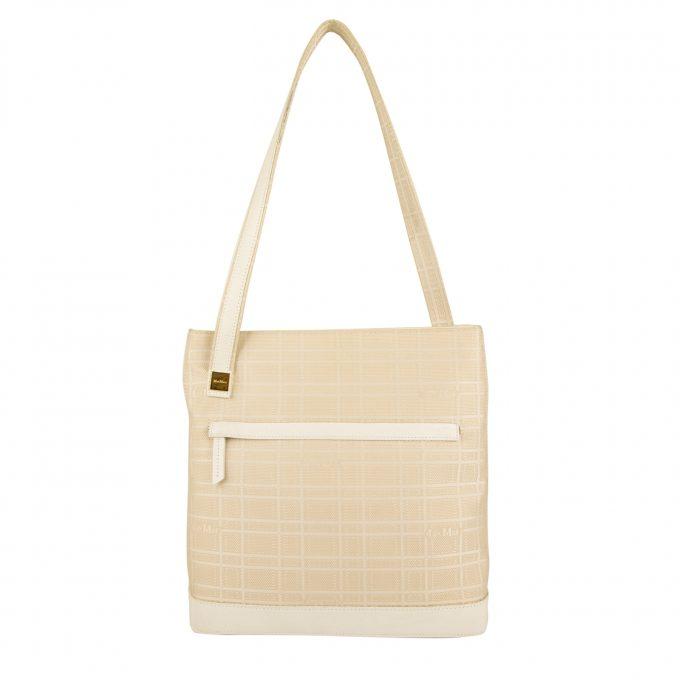 Max Mara White Beige Checked Signature Canvas White Leather Shoulder Bag Handbag