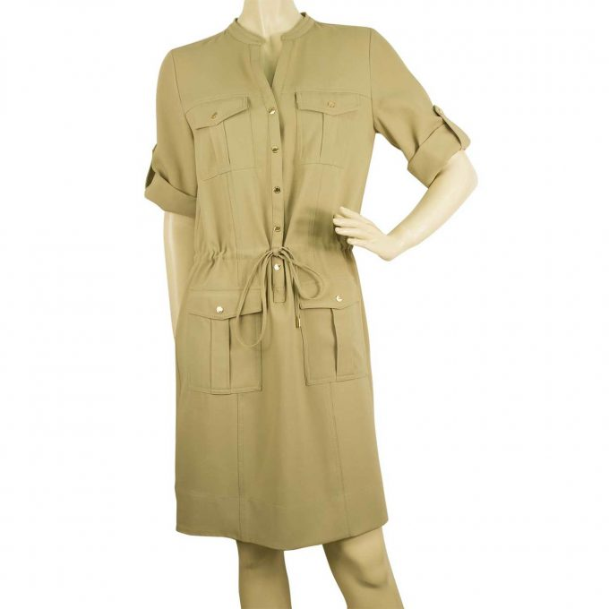Michael Kors Beige Casual Safari Look Knee Length Shirt dress size S