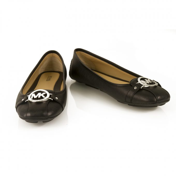 Michael Kors Fulton Moc Black Leather Silver Logo Ballerinas Flat Shoes 10 M