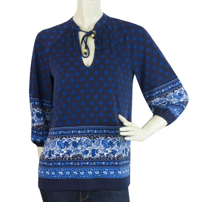 Michael Kors Blue Tie Neck 3/4 Sleeves Floral Tunic Top Blouse size P