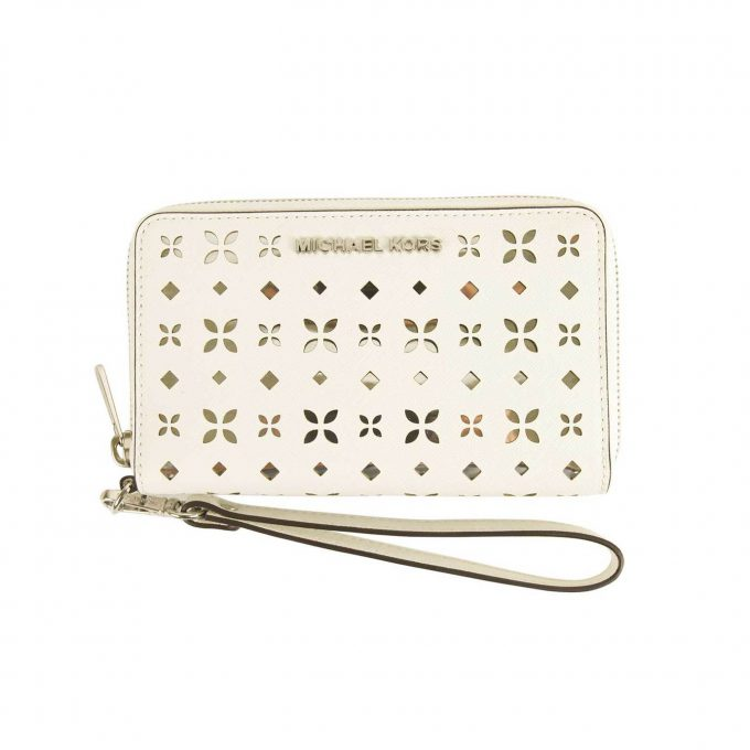 Michael Kors White Perforated Canvas Ziparound Medium Wallet & smart phone case