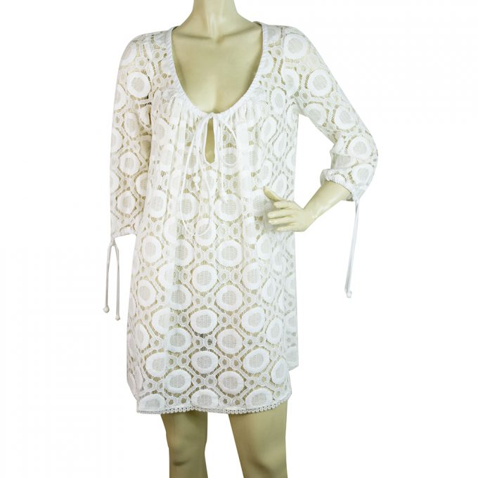 Milly Cabana Cotton Broderie White Kaftan Cover Up Beach Mini Dress - Sz 8