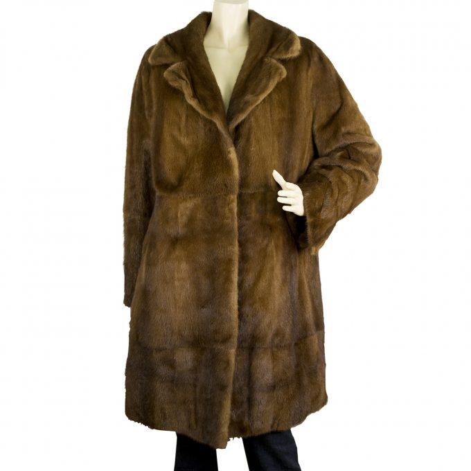Saga Mink Brown Knee Length Style Genuine Farmed mink Fur Jacket Coa