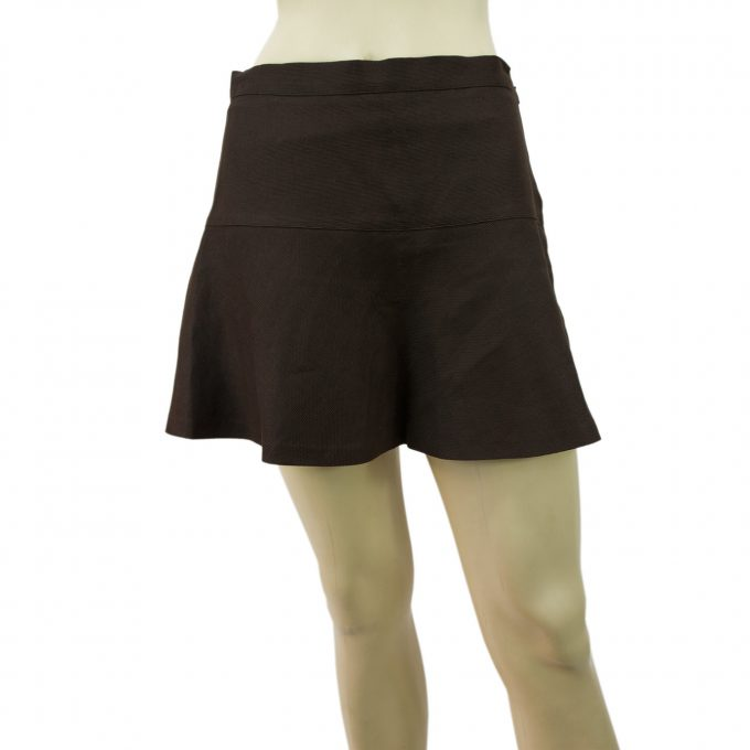 Missoni Brown Linen Cotton Mini Wide Basque Flared Summer Skirt Size 42