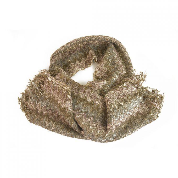 Missoni Beige Blue Purple Multicolored Zig Zag Long Wool Scarf Wrap Cache Col
