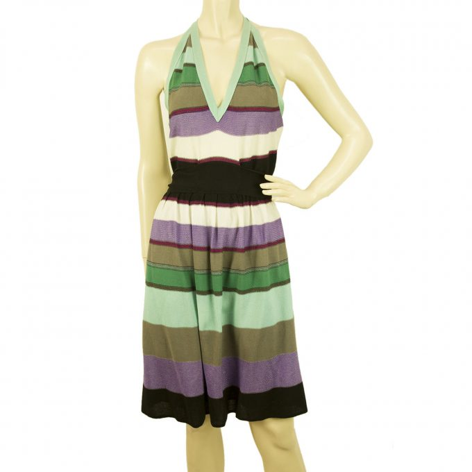 M Missoni Multicolored Halter Neck Striped knee length belted dress Size 44