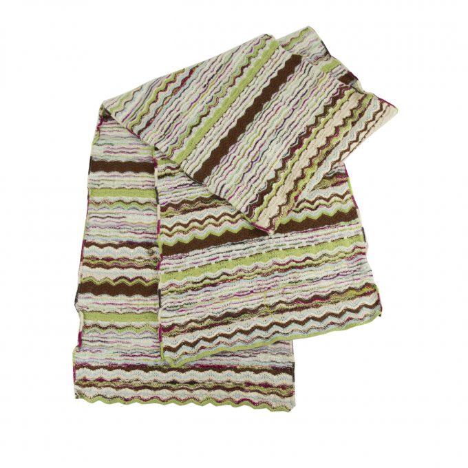 Missoni M Green Brown Multicolored Striped Long Scarf Wrap Cache Col