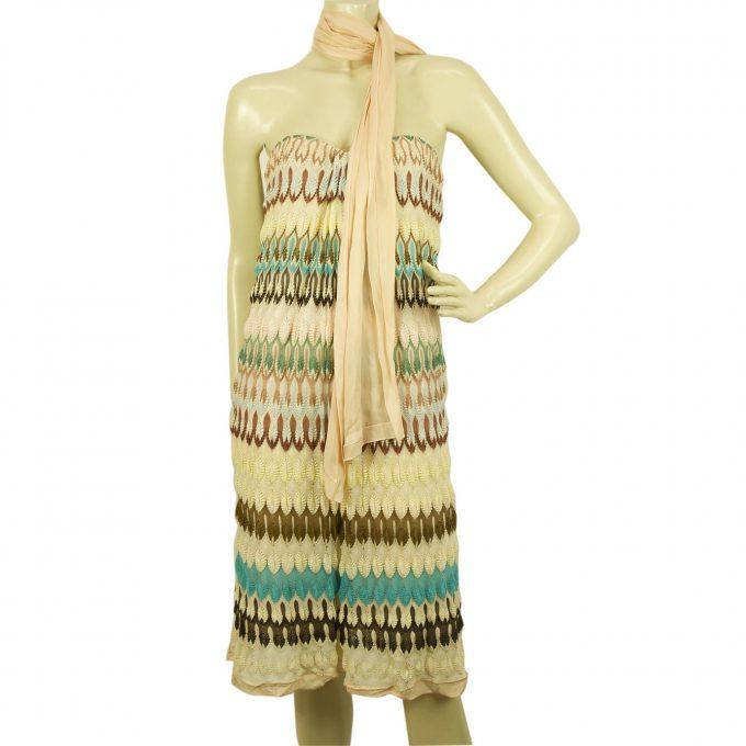 Missoni Multicolored Strapless Zig Zag Striped Knee length dress Size 40