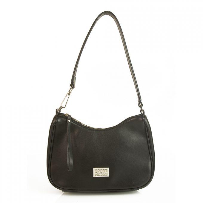 Missoni Sport Black Leather Classic Zipper Closure Hobo Shoulder Bag Handbag