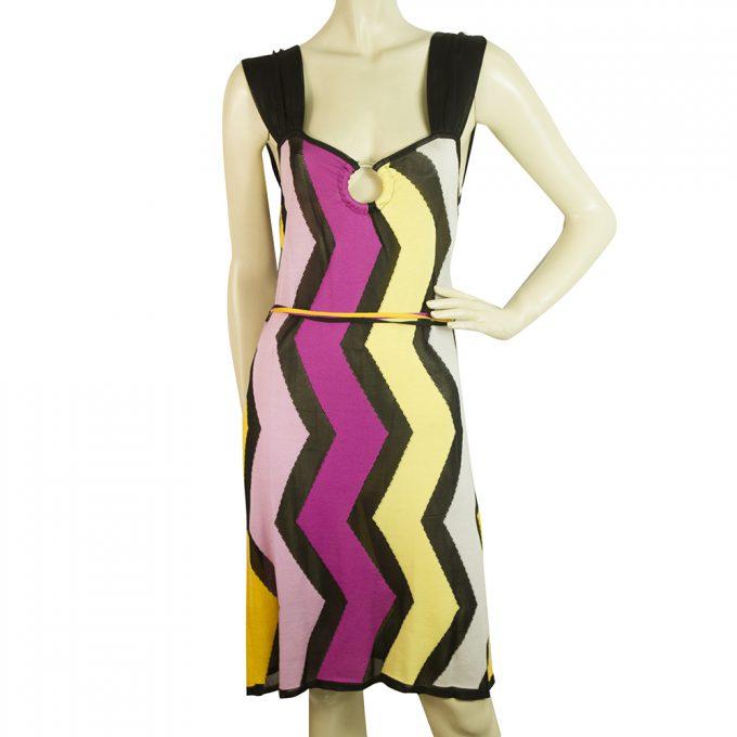 Missoni Sport Multicolor Zig Zag Signature Sleeveless knee Length Dress size 42
