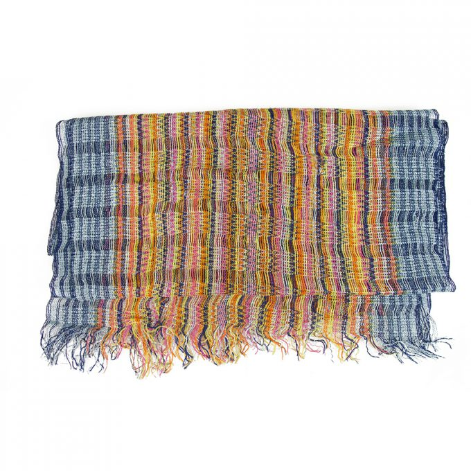 Missoni Multicolored Checked  Long Viscose Scarf Wrap Cache Col with fringes