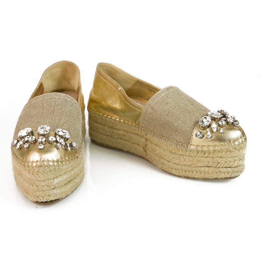 Miu Miu Gold Leather Beige Canvas Crystals Flatform Jute Espadrilles Shoes sz 37