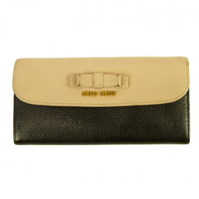 Miu Miu Beige and Black Leather Wallet Gold hardware Bow Long Envelope