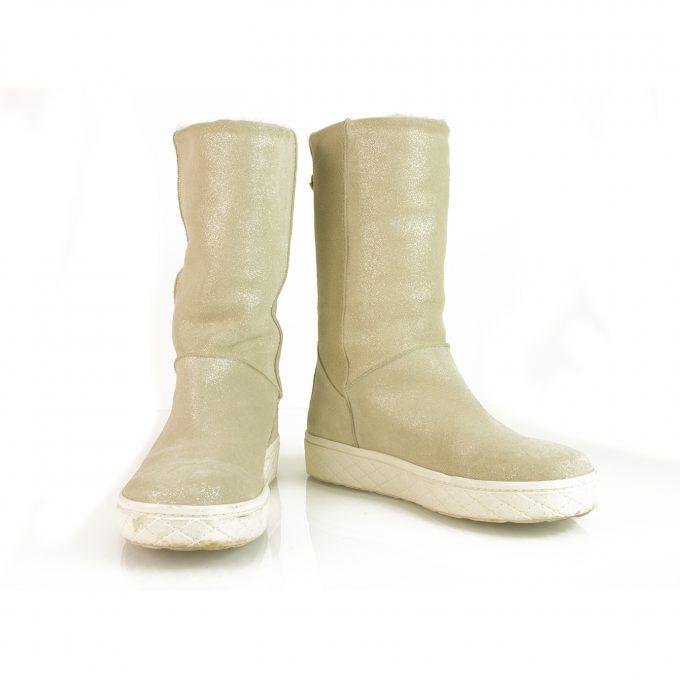 Moncler Women's Christine Flat Lambskin Fur Boots Glitter Beige Booties 37