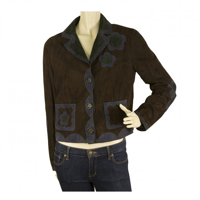 Moschino Cheap and Chic Brown Suede Blue Green Flowers Leather Jacket size 44