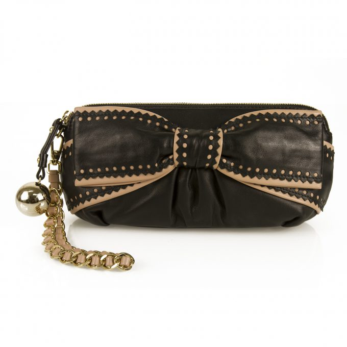 Moschino Cheap & Chic Black Leather Nude Bow Evening Bag Clutch Wristlet