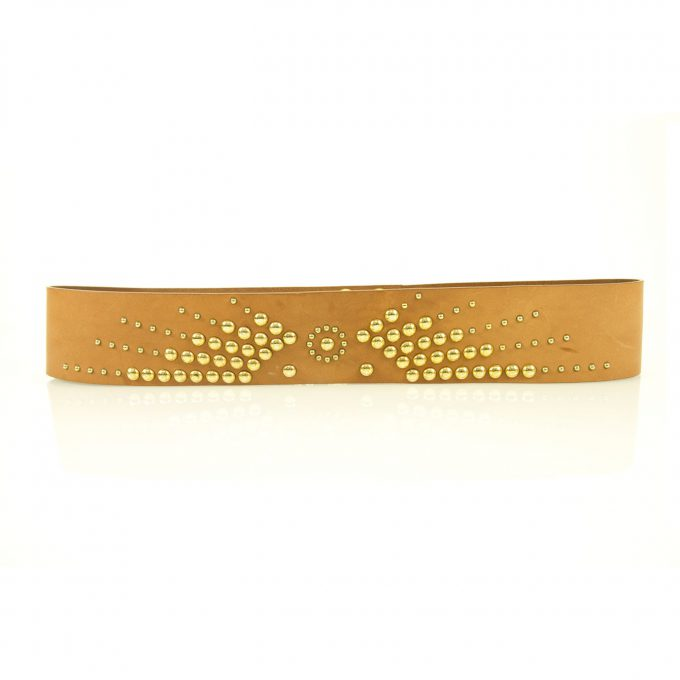 Moschino Love Woman's Tan Cow Leather Studded Gold Tone Press Stud Belt sz 90