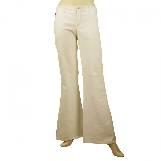 Moschino Womens White cotton trousers pants bootcut flare IT 40 US 6 GB 10 FR 36