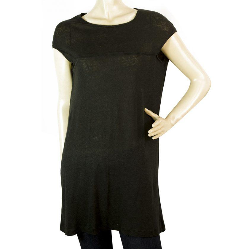 Neil Barrett Black 100% Linen Relaxed Oversize Style Blouse Long Top Size XS