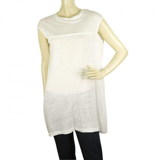 Neil Barrett White 100% Linen Relaxed Oversize Style Blouse Long Top Size XS