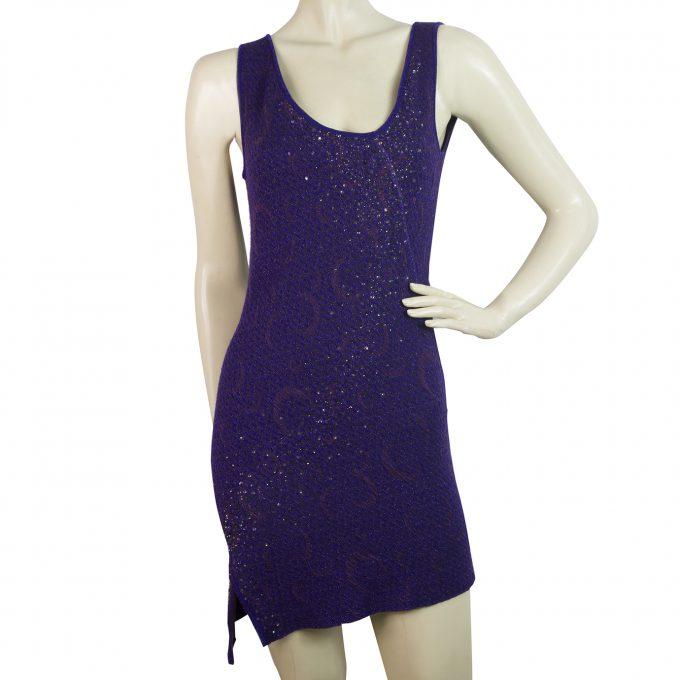 Nina Ricci Purple Wool Knit w. Sparkling Crystals Mini Length Bodycon Dress Sz S
