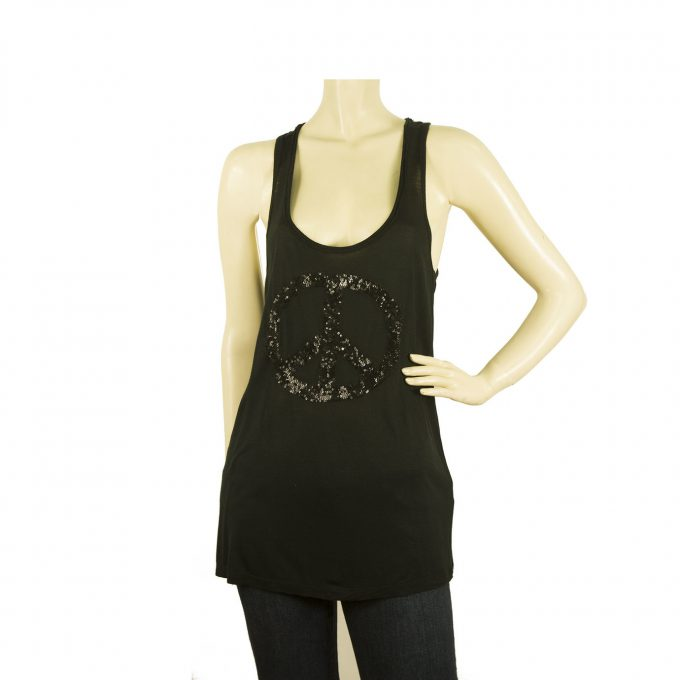 Parosh Black Sequined Peace Tank Vest Viscose Sleeveless Top sz S