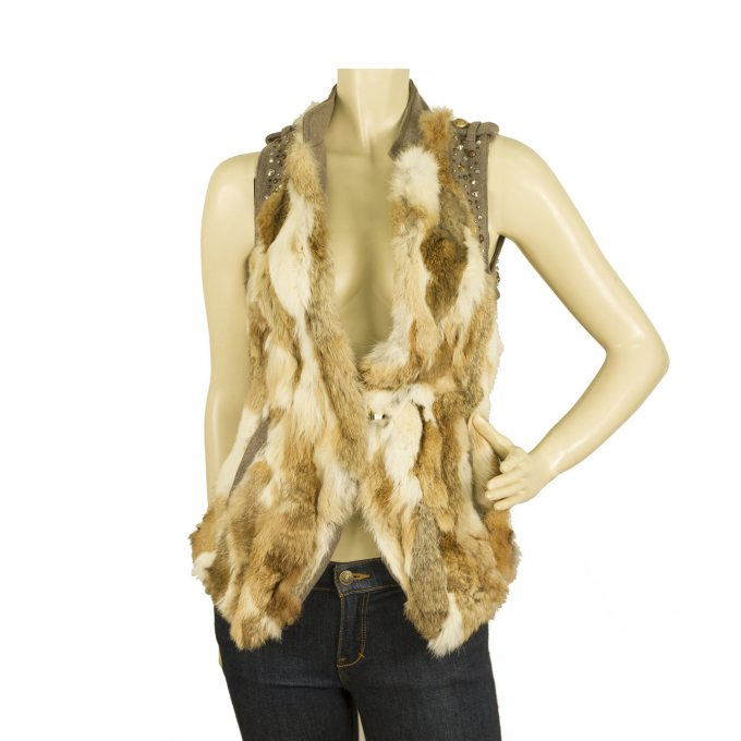 Patricia Pepe Beige Lapin Fur Wool Back Studded Vest Sleeveless Jacket Gillet 44