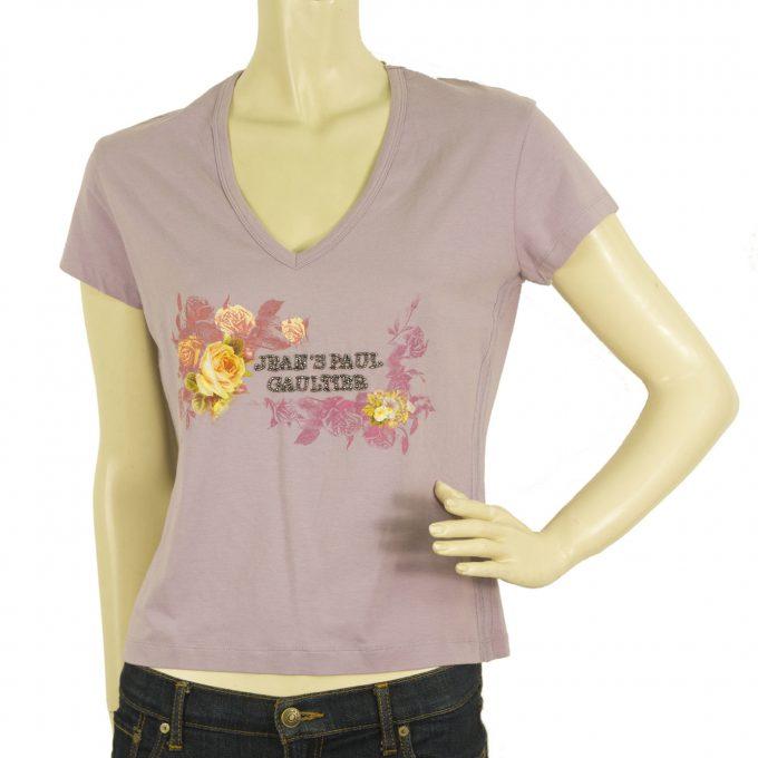 Jean Paul Gaultier Lavender Purple Roses Beaded V Neckline Blouse Top T-Shirt L