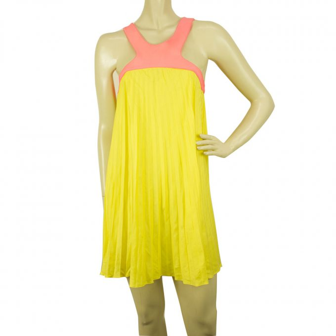 Paul & Joe Yellow Pink Pleated Sleeveless Halter Mini Summer Dress size 40
