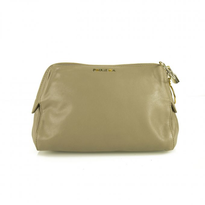 PAULE KA taupe leather with ring zipper pulls & padlock Clutch bag Handbag