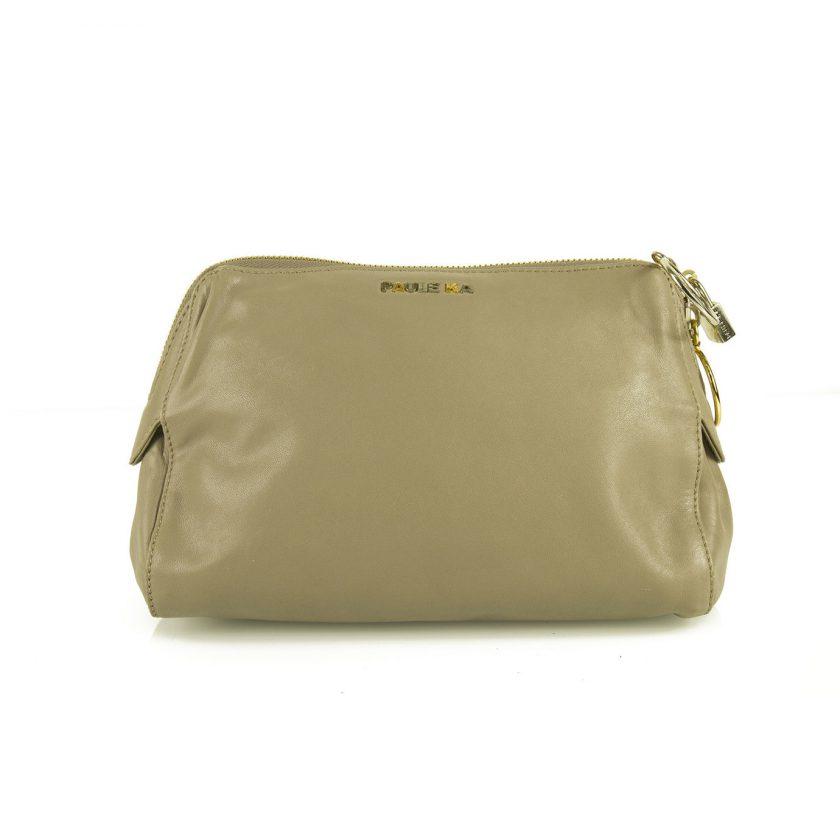 PAULE KA taupe leather with ring zipper pulls & padlock Clutch bag Handbag