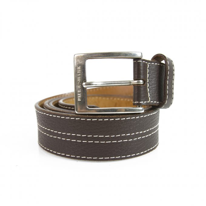 Paul & Shark Brown Men's Leather Belt w. Contrast White Stitching