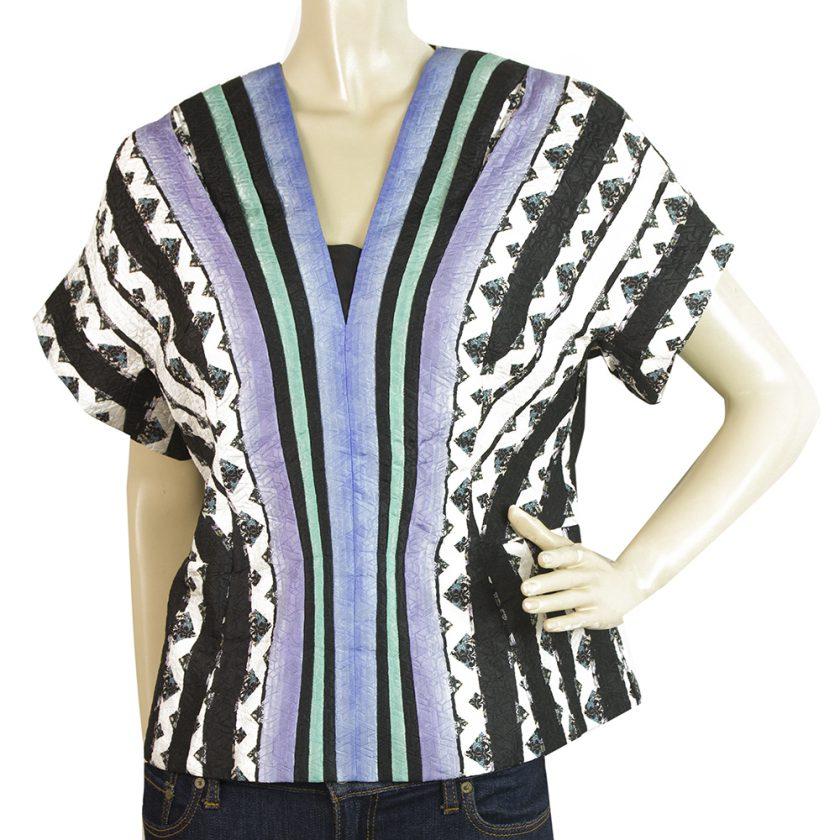 Peter Pilotto Multicolor Stripes V Neckline Silk Blend Blouse Top size UK 14