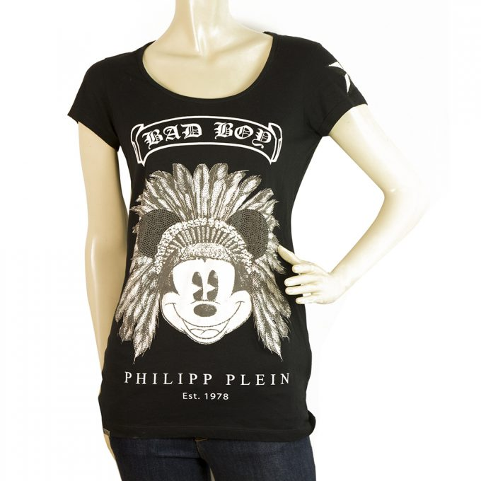 Philipp Plein Black Disney Mickey Mouse Rhinestones Short Sleeve T- Shirt S