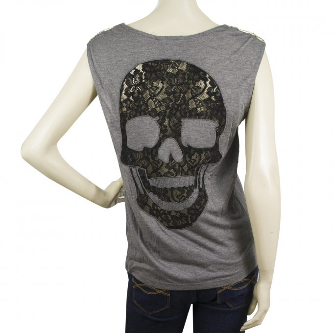 Philipp Plein gray cotton embellished top with large balck lace skull Sz M