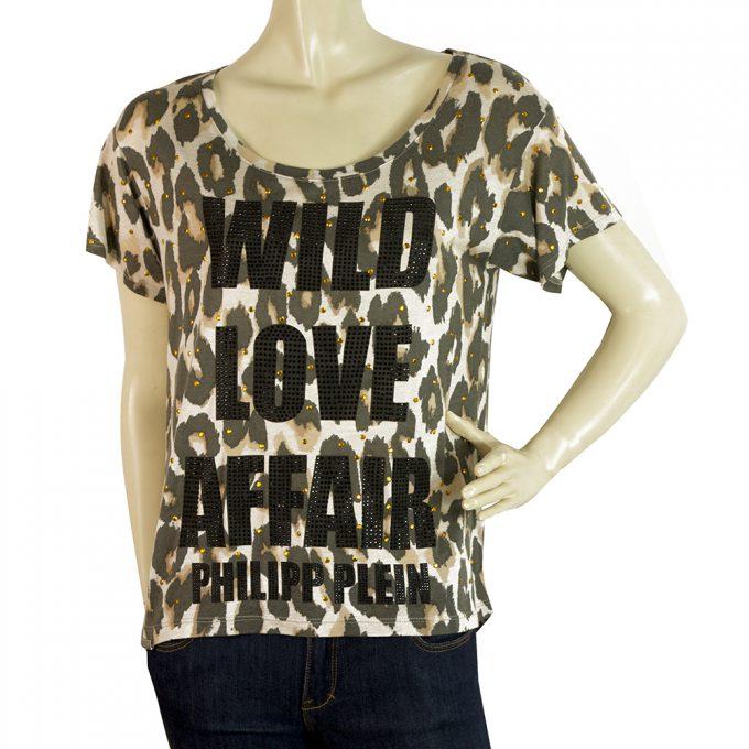 Philipp Plein Animal Print Wild Love Affair Sequined T-shirt Top Sz XS