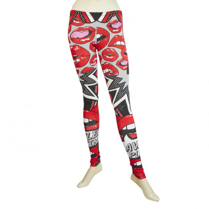 Philipp Plein Leggins Red Black & White Cartoon Lips Elastic Viscose trousers XS
