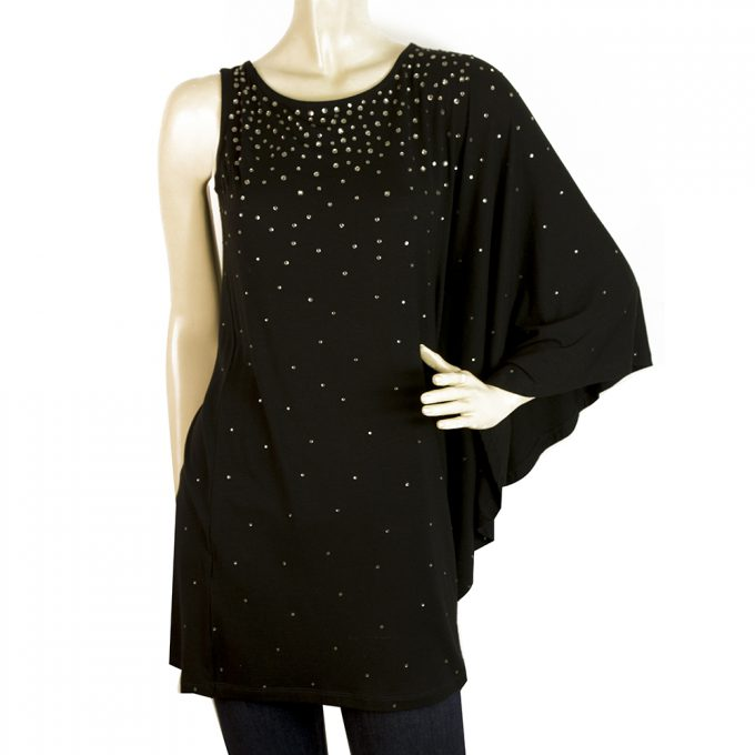 Philipp Plein Black One Dolman Sleeve Long Beaded Crystals Blouse Top - Size XS