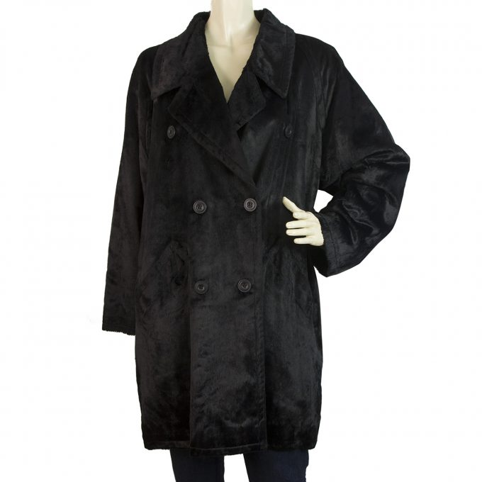 Philippe Adec Black Fur Like Cotton Blend Loose Women's Jacket Coat size 1