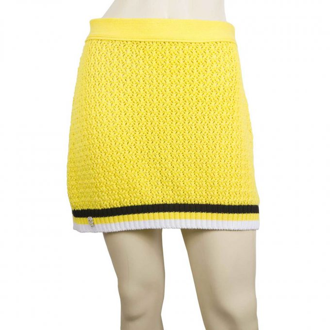 Philipp Plein Yellow Cable Knit Cotton Mini Skirt Skull Black & White Stripes M