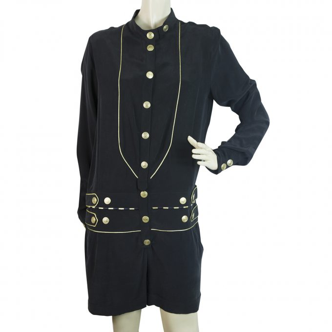 Pierre Balmain Black Gold Logo Buttons Silk Romper Playsuit Shorts size 38