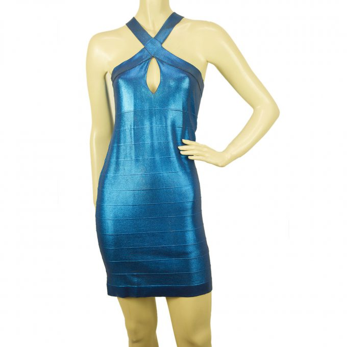 PINKO Blue Stretch Bodycon Mini Length Viscose Elastan Sleevless Dress sz M