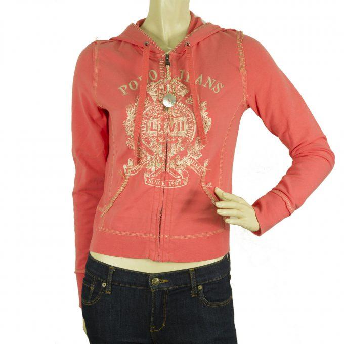 Polo Jeans Ralph Lauren Pink Logo Short Hooded Jacket Zipper Closure Top Size S