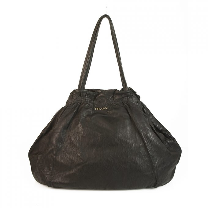 Prada Black Pebbled Leather Extra Large Bag De Jour Bag Top Handle Handbag tote