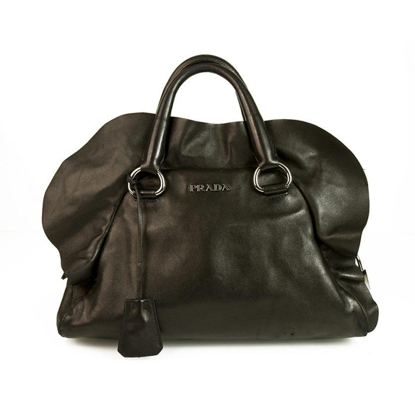 Prada Black Nappa Ultra Soft Leather Ruffle Bauletto Bag Top Handle Handbag
