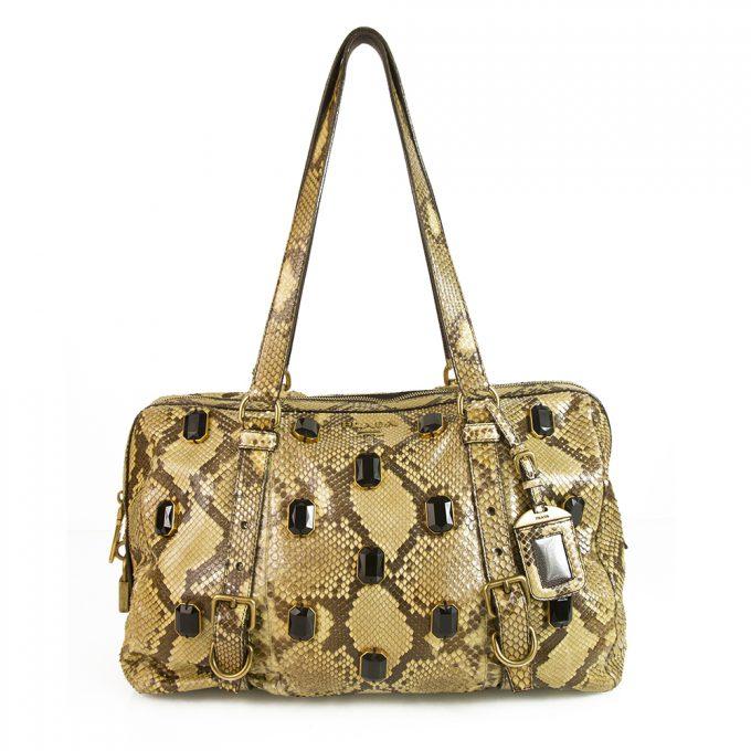 Prada Beige Python Leather Large Jeweled Padlock Shoulder Bag Handbag tote
