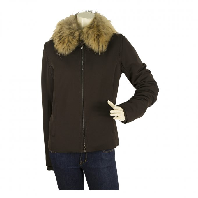 Prada Sport Brown Fox Fur Collar Jacket Zipper Closure Top - Size 44