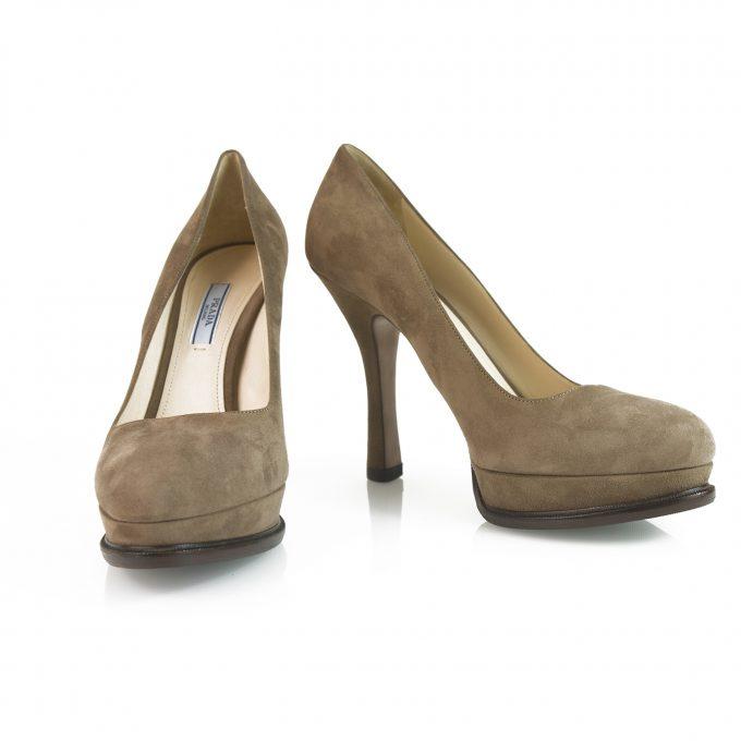 Prada Taupe Brown Suede Leather Classic Pumps Round Toe Slim Heel Platform sz 40