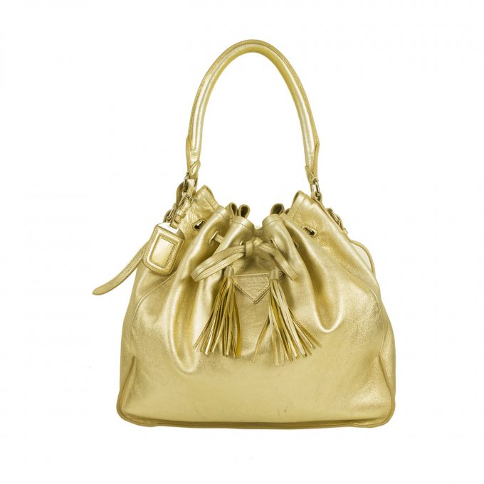 Prada Gold Metallic Platino Nappa Leather Drawstring Shopping Shoulder Bag